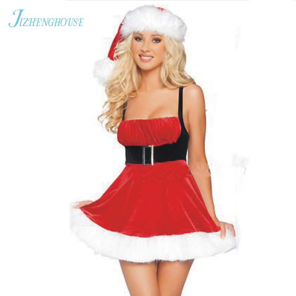 JIZHENGHOUSE Red White Santa Claus For Adults Cosplay Party Clothing Dress
