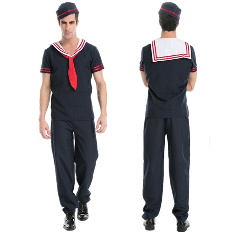 3 Pcs Hot Sale Adult Men Sailor Sea Navy Costume Blue Worker Uniform Halloween Costumes for Men Carnival Party Stage Cosplay