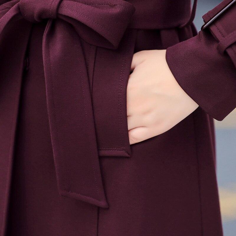 Cw127 Long Grande Qualité Nouveau Survêtement Femmes Taille De Dames red Single Femme Tranchée Hiver Black 2018 Mode breasted Wine Moyen Coupe Haute vent qYHCAwC