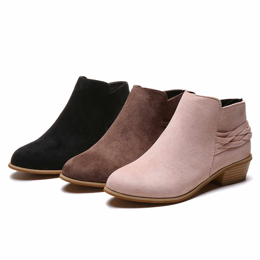 short boots for women ladies leather ankle boots for women Martin boots Casual big sizes Booties woman 2019 botte femme 7#3.5