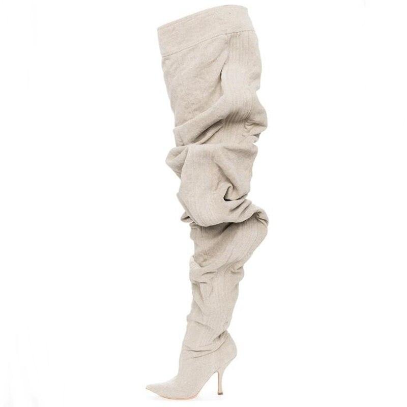 Picture Cómodo Cuero Marrón As Sexy Puntiagudos 35 Botas Picture Blanco Largas Mujer De Zapatos 42 Tamaño Pasarela Muslo as Suelto Tacones Ultra v1Pn4fnwq