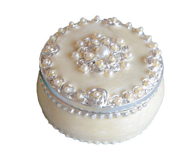 Round White Pearl Jewelry Box Decorative Crafts Wedding Favor Gift Box  Vintage Home Decor Storage Valentine