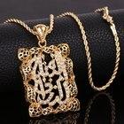 OUMEILY Women Allah Necklace Pendant Muslim Islamic Jewelry Gold Color Crystal Cubic Zirconia Neckalce Bride Wedding Jewellery