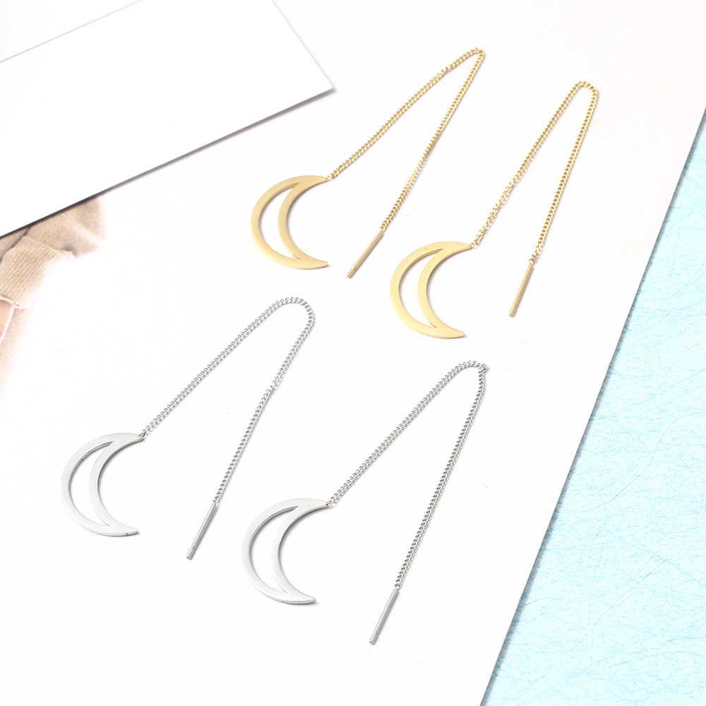 Tối giản mặt trăng phụ nữ kpop nhỏ dài stud bông tai bạc thép không gỉ jewerly phụ kiện trang sức hàn quốc phụ nữ thời trang