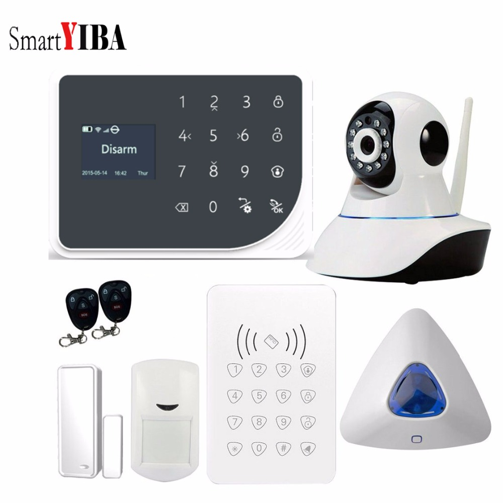 SmartYIBA Wireless GSM Burglar Alarm System WiFi Home Security Alarm System APP Remote Control Touch Keyboard Video IP Camera hot screen touch wireless gsm home security burglar alarm system with mobile app control free shipping