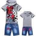2016 лето человек-паук мальчики комплект одежды детей с коротким рукавом тис рубашка джинсовая жан одежда спортивный костюм костюмы детские одежда
