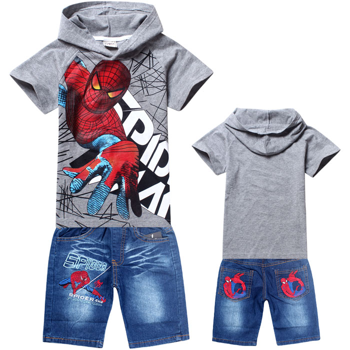 2016 summer spiderman boys clothing set kids short sleeve tops tees t shirt denim jean clothes sport suit outfits baby clothes