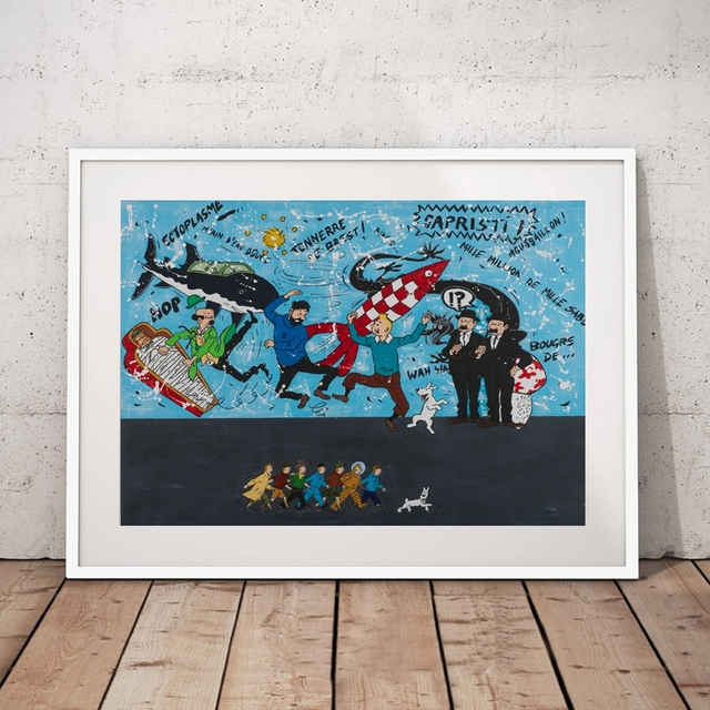 Les Aventures De Tintin Mur Art Toile Peinture Image Personnages De