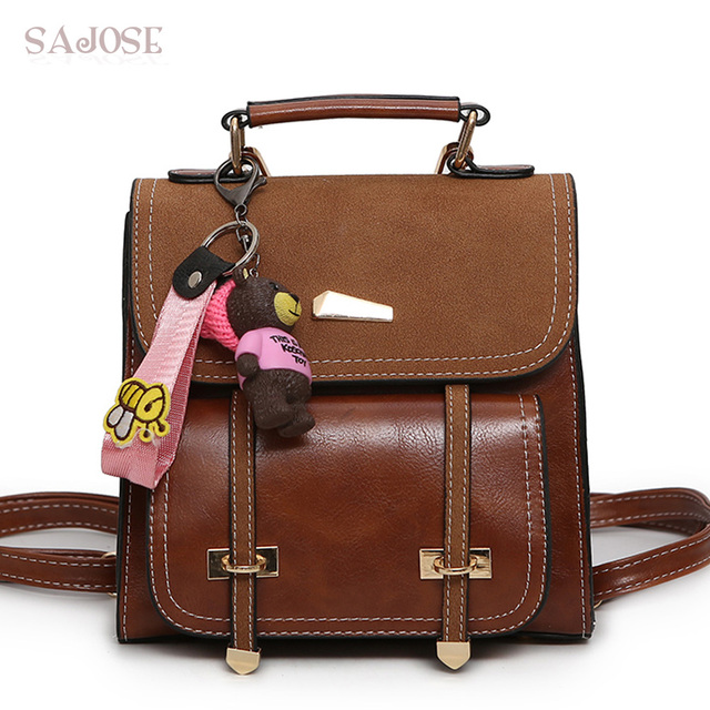 Leather Backpack Retro Multifunction Women Fashion Pendant School Bag For Age S Brand Brown Las Shoulder