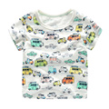 Slub cotton short sleeved T-shirt printing full car boy 2017 spring summer new kids children baby U6047