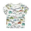 Slub do algodão de manga curta T-shirt impressão full U6047 carro menino 2017 verão nova das crianças dos miúdos do bebê