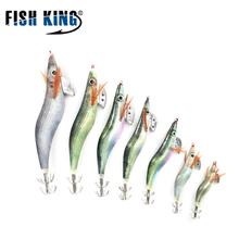 FISH KING 3.zero 3.5 4.zero 4.5 Squid jigs hook Fishing Laborious Synthetic Bait 7-17cm Luminous Wooden Shrimp Fishing Lure sea Fishing Rig