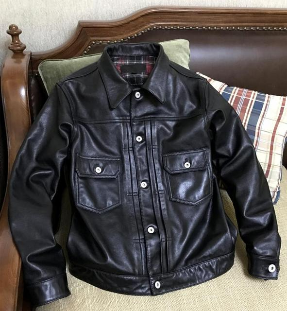 Free shipping,New Brand clothing plus size black men 100% horsehide leather Jackets men's genuine Leather jacket.casual