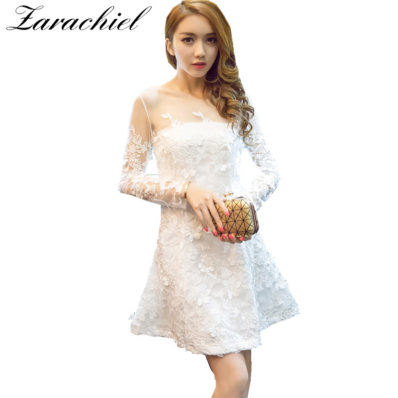 d4a9586abf Zarachiel Sexy Crochet Stereoscopic Flower Embroidery Lace Dress Spring Autumn  Women Long Sleeve Hollow Out Wedding Party Dress-in Dresses from Women s ...