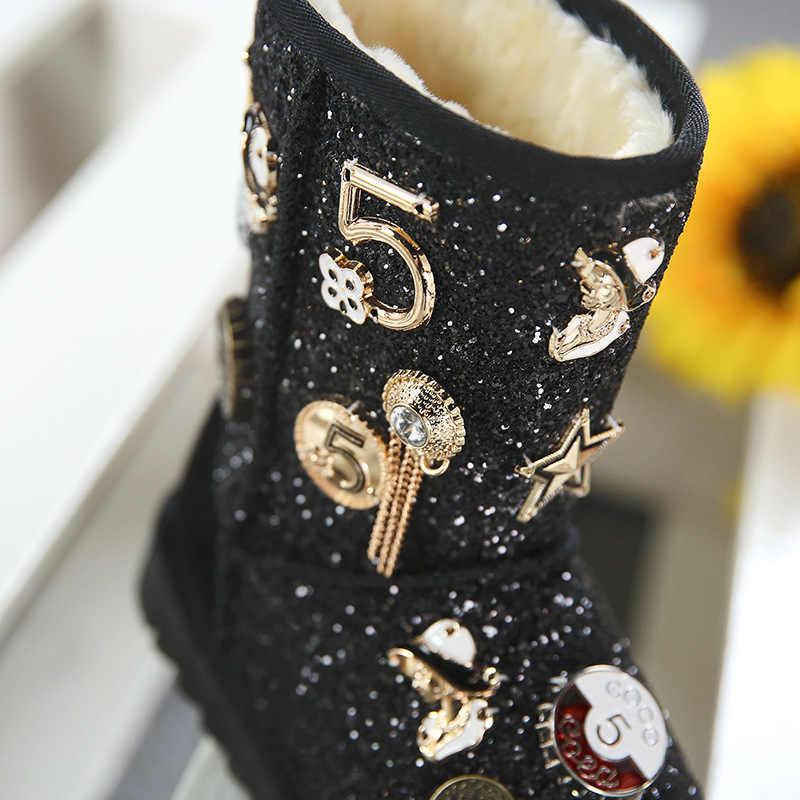 Halozeroo 2018 Novas Botas de Neve Do Inverno Do Bebê Menina Crianças Moda Botas Macias Marca Menino Botas Criança Quente de Prata de Paetês Preto sapatos