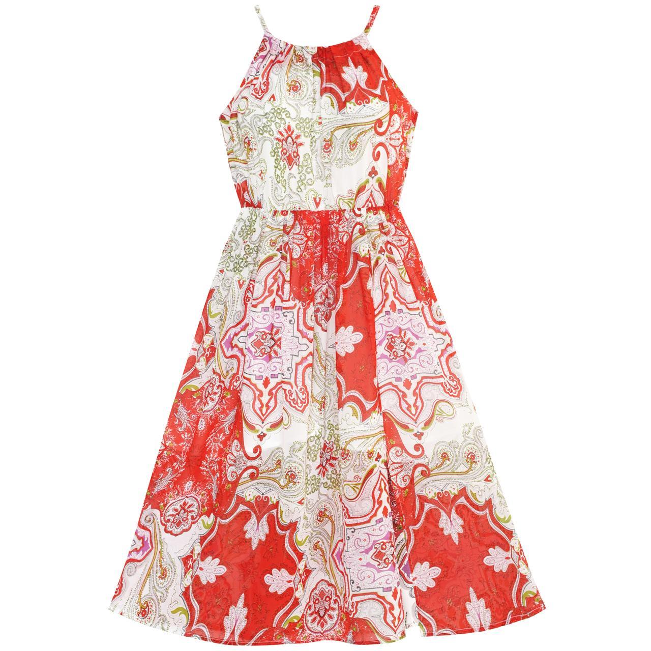 все цены на Sunny Fashion Flower Girl Dress Red Floral Chiffon Slip Midi Dress Summer Beach Party 2018 Summer Princess Wedding Size 7-14