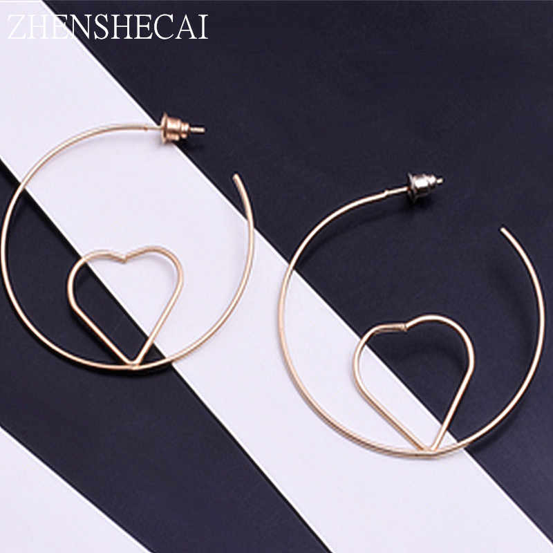 Fashion Round Earring Heart Inside Simple Design Sliver Gold Color Geometric Hoop Earring Jewelry For Women Girl Gift e0318