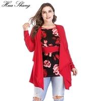 Plus Size Women Blouse 4xl 6xl 2018 Spring Autumn O Neck Long Sleeve Fake Two Pieces Tunic Ladies Tops Floral Print Long Blouse