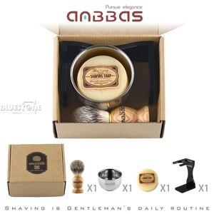 Image 5 - Anbbas Kapper Scheerkwast Dassenhaar + Zwart Acryl Stand + kom + Zeep Set