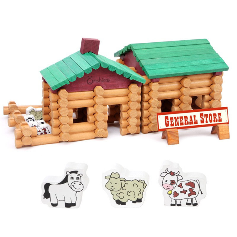 90 шт./компл. деревянные строительные блоки Творческий лес фермерские дома пространство Обучающие кирпич блоки журналы деревянные игрушки г...