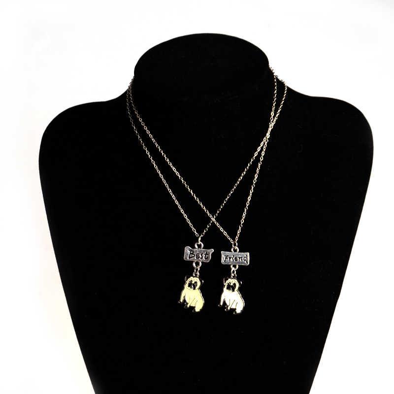 2 шт./компл. новые модные украшения DIY Прекрасный питомец кулон с Мопсом ожерелье s украшения с собаками лучшие друзья дети ожерелье для женщины девушка подарок