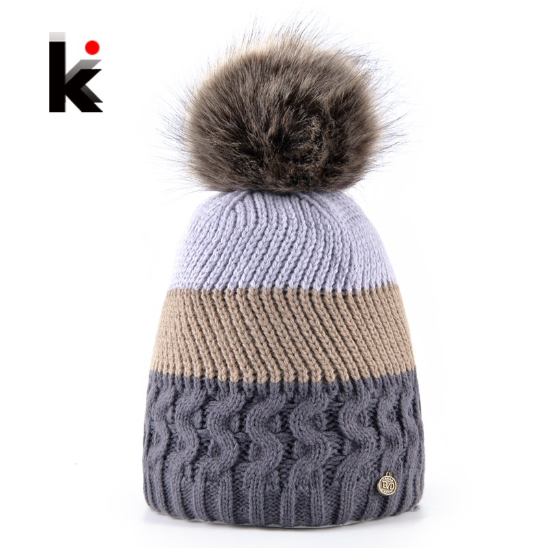 2017 Fashion Womens Winter Beanies Hat Caps Femal Warm Imitation Fur Ball Pompoms Knitted Skullies Beanie For Girls Bonnet Touca