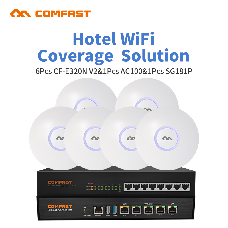 DHL Free COMFAST Supermarket 1000 Square Wifi Coverage Solution Set 300Mbps 2.4G Wireless Wifi Router AP 48V POE Support OpenWRT