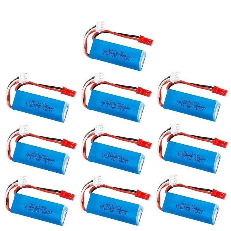 7.4 V 450 mAh 20C Lipo batterie pour WLtoys K969 K979 K989 K999 P929 P939 RC pièces de voiture 2 s 7.4 v batterie 10 pcs/lots