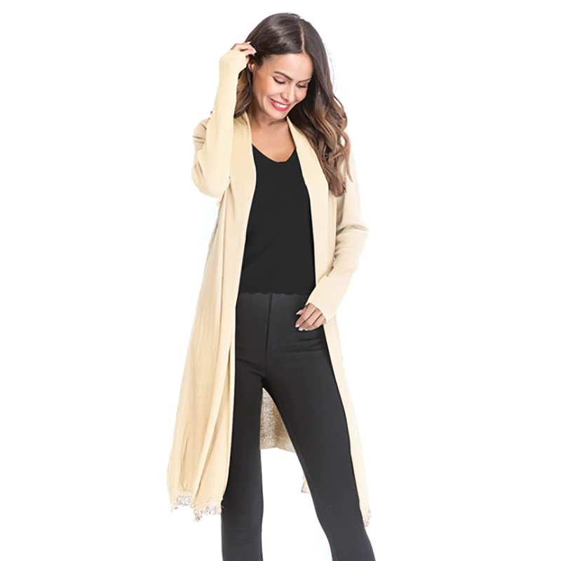 Kostlich 2018 Women Solid Color Tassel Long Knitted Cardigans Casual Open Stitch V Neck Full Sleeves Cardigans M-XL (17)