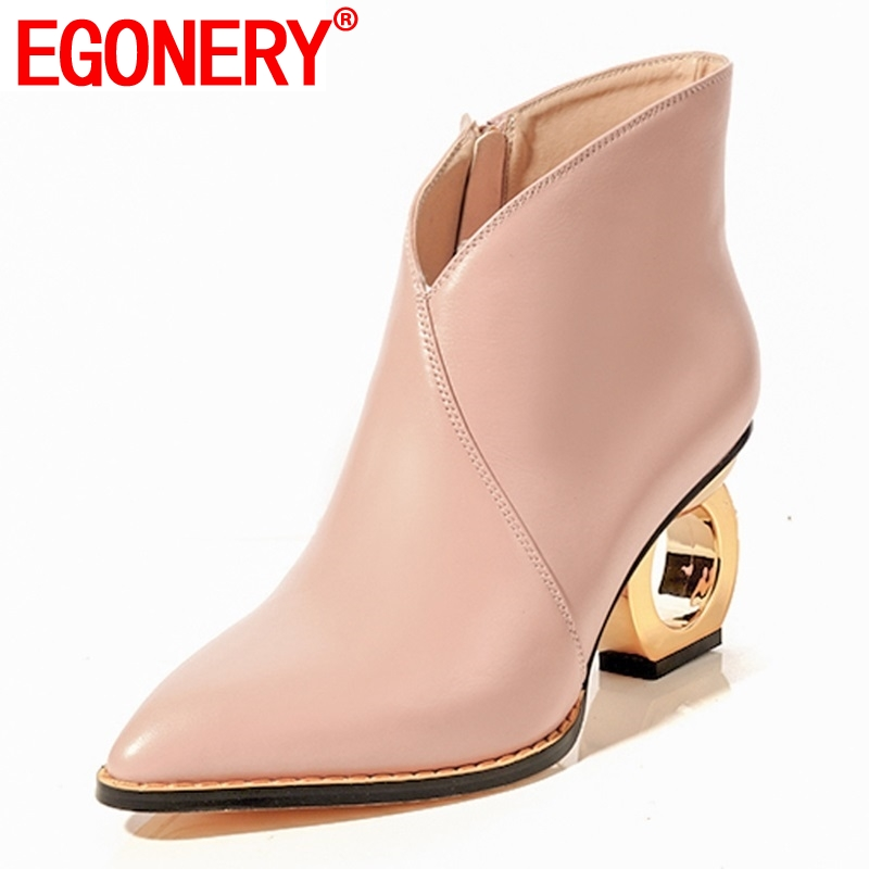 EGONERY newest fashion sexy genuine leather zipper high frework heels pointed toe outside black and pink