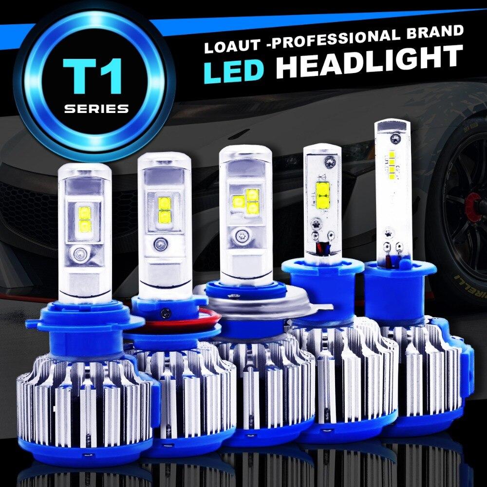 2018 Novo Plug & Play T1 turbo Led Farol Do Carro H1 H3 H4 H7 H8 H9 H11 9004 9005 9006 880 881 DRL Daytime Running Luz lâmpada canbus