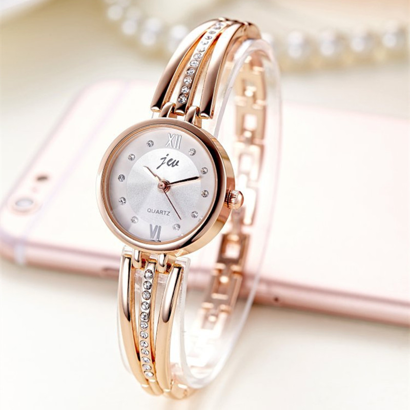 New Fashion Rhinestone Watches Women Luxury Brand Stainless Steel Bracelet watches Ladies Quartz Dress Watches reloj mujer Clock(China)