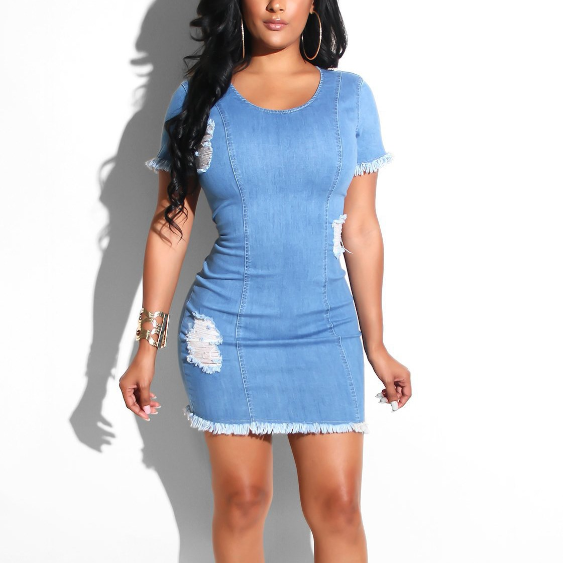 Bodycon Mini <font><b>Dress</b></font> Women Summer <font><b>Dress</b></font> Vestidos 2019 <font><b>Jeans</b></font> <font><b>Dress</b></font> <font><b>Sexy</b></font> Ladies Denim <font><b>Dress</b></font> image