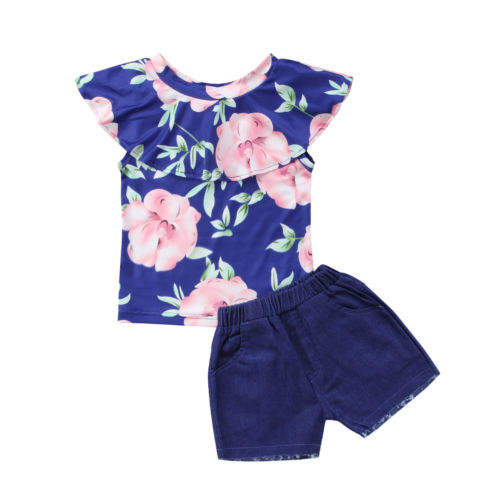 Baby Girl Clothing Floral Off Shoulder Tops T-shirt Denim Shorts 2pcs Casual Summer Clothes Baby Girls 6M-3T