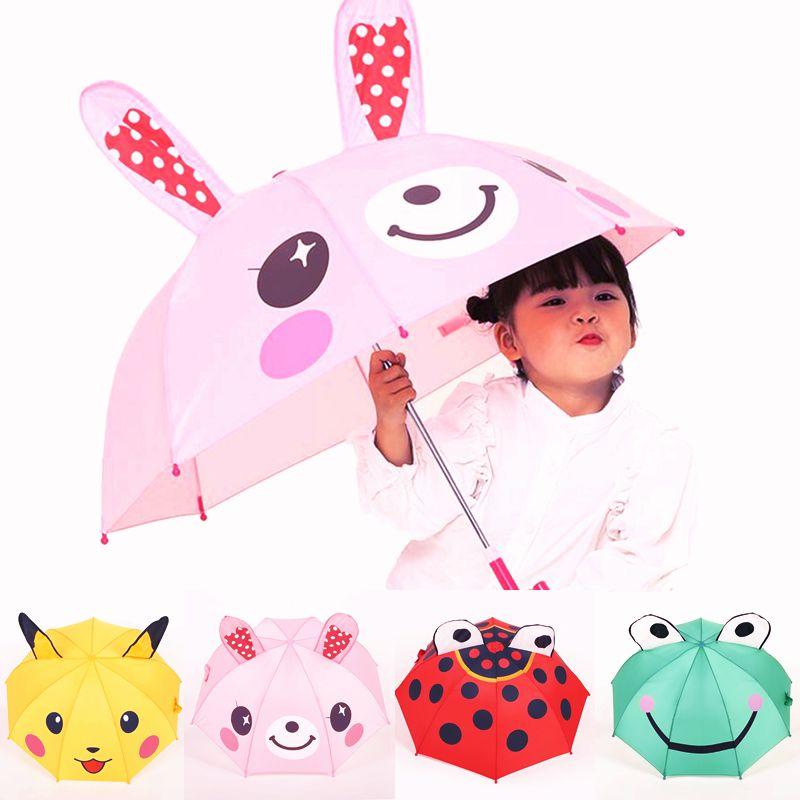 Cartoon Ears Stereoscopic Kids Umbrella Pikachu Rabbit Frog Aninmal Dual Purpose Sunshade Children umbrellas girls Rain Gear