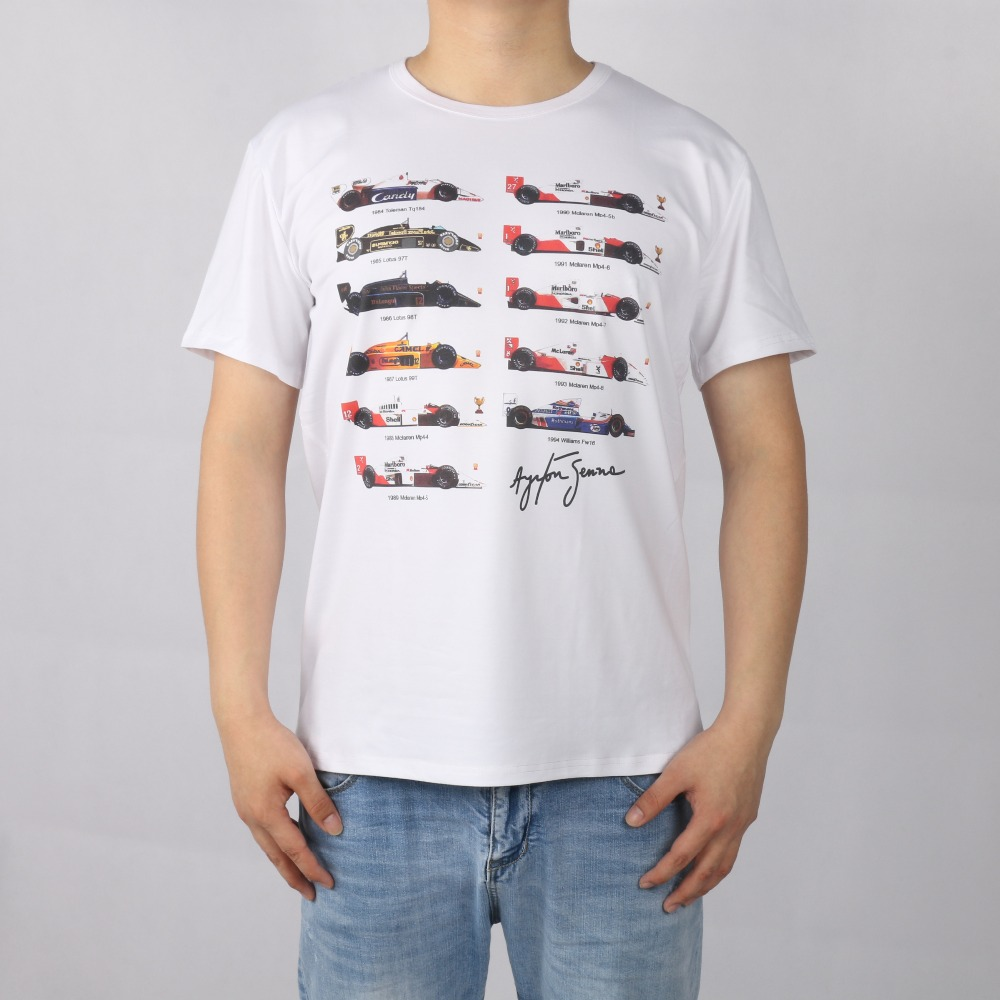 All <font><b>F1</b></font> Ayrton Senna sennacars <font><b>T</b></font>-<font><b>shirt</b></font> Top Lycra Cotton Men <font><b>T</b></font> <font><b>shirt</b></font> New Design High Quality Digital Inkjet Printing image