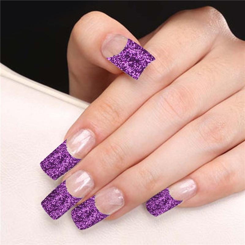 70pcs French Nail Tips Purple Glitter False Nail Tips Hot Sale False ...