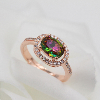 Women's Fashion Ring silver ring rose gold colr ring colorful stone crystal ring gift open image