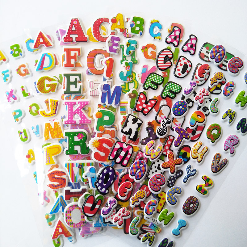 6 Sheets/lot Cute Cartoon Numbers Alphabet Letter Stickers Bubble Stickers Early Educational Digital Stickers For Baby Kids Toys