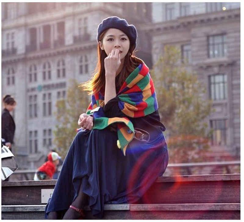 2018 秋冬帽子レディーススウィートソリッド暖かいウールベレーフレンチアーティストビーニーハットスキーキャップキャップ帽子