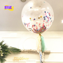 5PCS 12 inch confetti balloon round sequins transparent ball rose gold latex