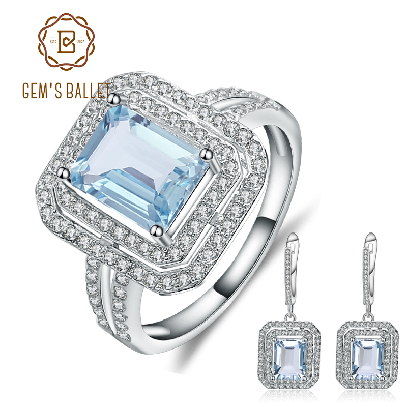 GEM S BALLET 10 61ct Geometric Natural Sky Blue Topaz Jewelry 925 Sterling Silver Earrings Ring