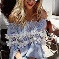 Женщины sexy кружева с плеча синий блузки рубашки дамы повседневная твердые топы blusas Плиссированные Цветы сорочка femme манш longue
