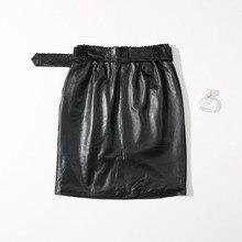 2018 Autumn Winter Genuine Leather Skirts Women High Lambskin Waist Sexy&club Black Mini Skirts Ladies Real Sheepskin Sexy Skirt