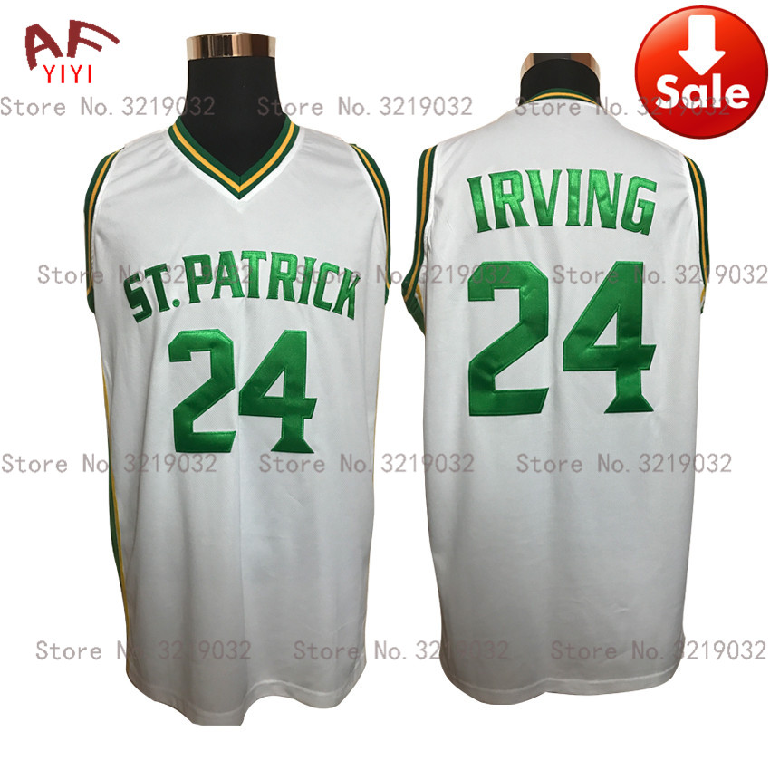 цена на Cheap Mens Throwback Kyrie Irving Jersey 24 St.Patrick High School White Basketball Jerseys Stitched Retro Shirts Free Shipping