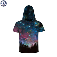 Mr BaoLong Brand Men Hip Hop Cool Hooded T Shirt For Men Galaxy Star Forest 3D