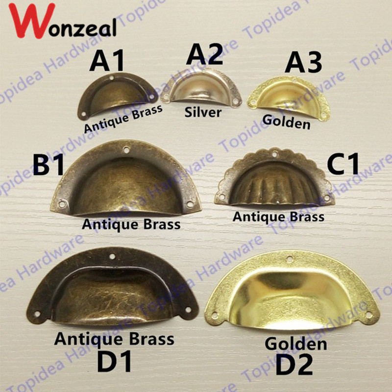3pcs/lot Antique Brass /Yellow/Silver Shell Pull Handle Kitchen Cupboard Door Cabinet Cup Drawer Furniture Knob ceramic drawer kitchen cabinet handle knob bronze dresser cupboard door pull knob antique brass furniture wood door handles knob