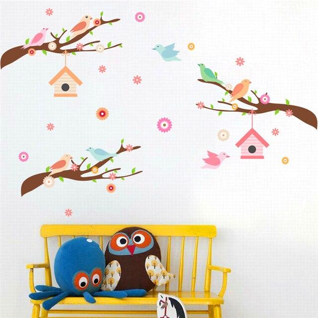 Vögel auf ast wandaufkleber für kinderzimmer schlafzimmer decor ...