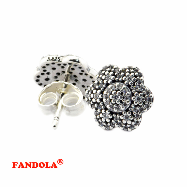 Crystallised Floral Stud Earring with Clear Cubic Zirconia 925 Sterling Silver Fine Jewelry for Women Free Shipping