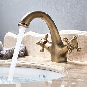 Image 2 - כפול ידית כיור ברזי סיפון רכוב פליז חם וקר כביסה אגן ברז עתיק פליז אמבטיה ברז